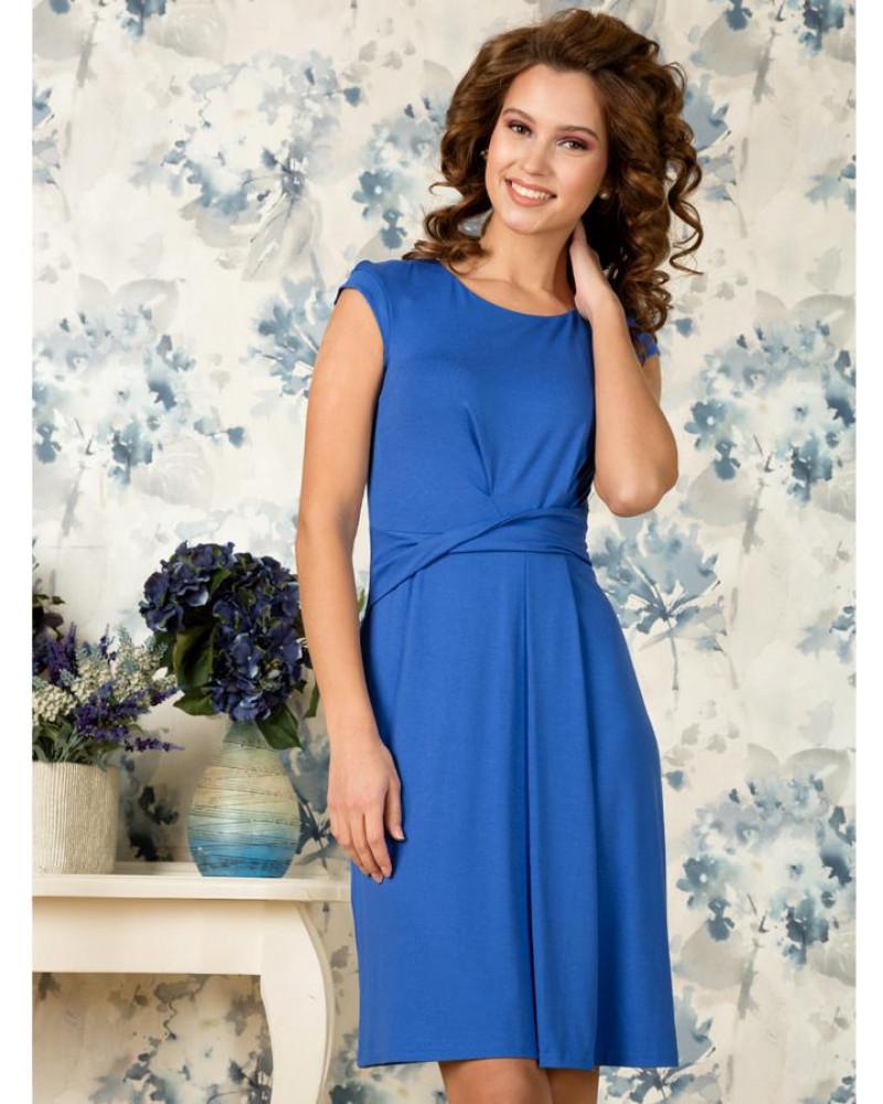 Платье вискозное синее с драпировкой , арт. 50909