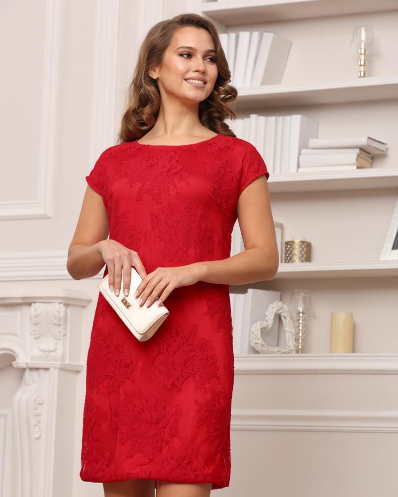 Платье кружевное красное, арт. 51753