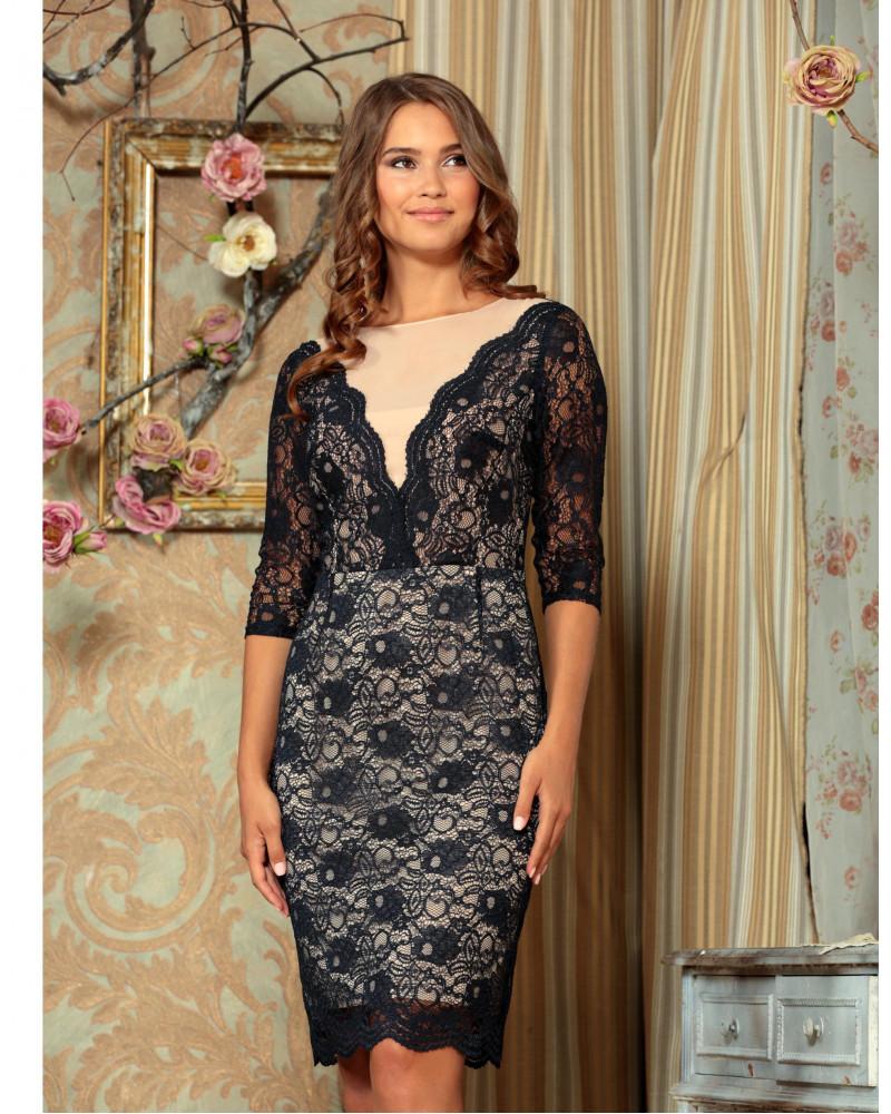 Платье кружевное темно-синее, арт. 51757