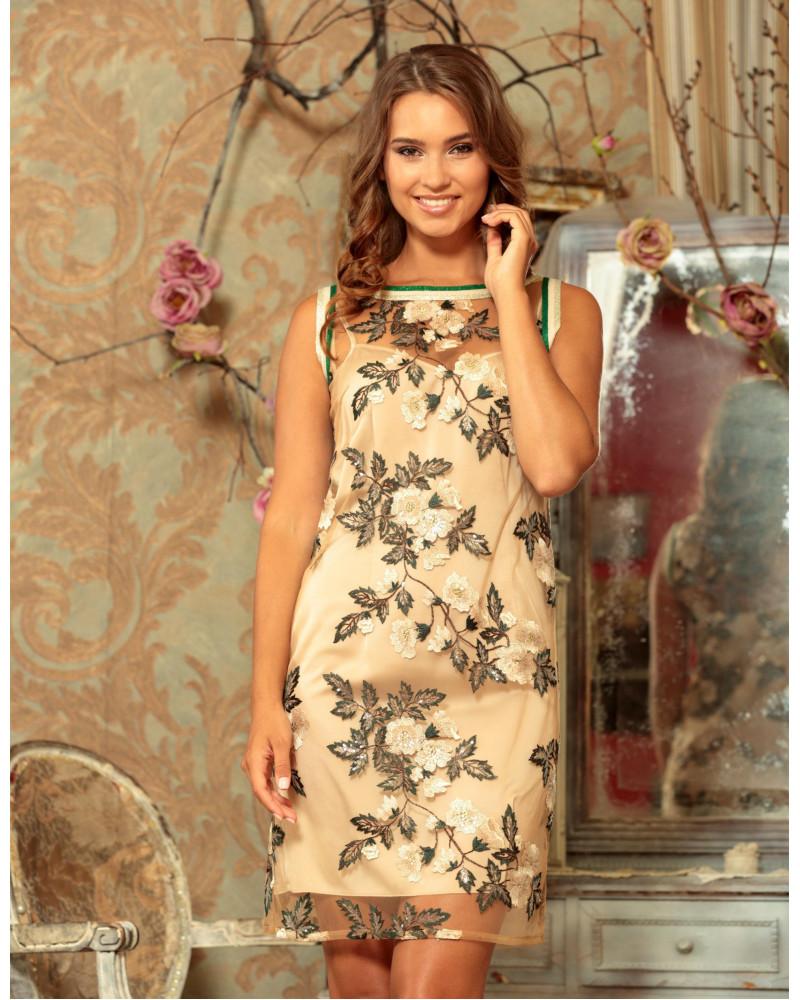Платье с вышитыми цветами арт. 51798-1