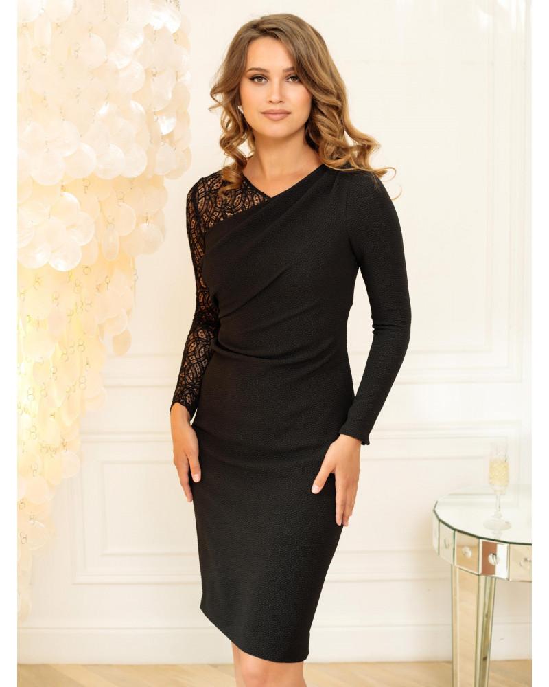 Платье черное асимметричное на одно плечо, арт. 52161