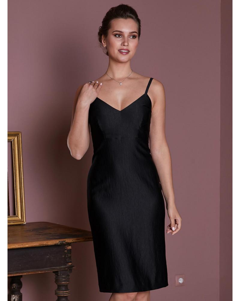 Платье черное на тонких бретелях, арт. 52187