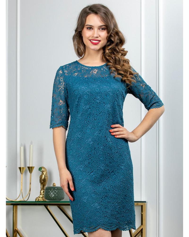 Платье из кружева цвета морской волны, арт. 52505