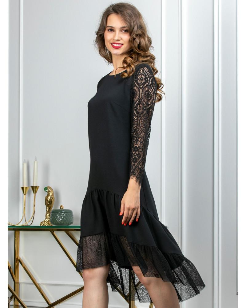 Платье черное комбинированное с кружевом, арт. 52508