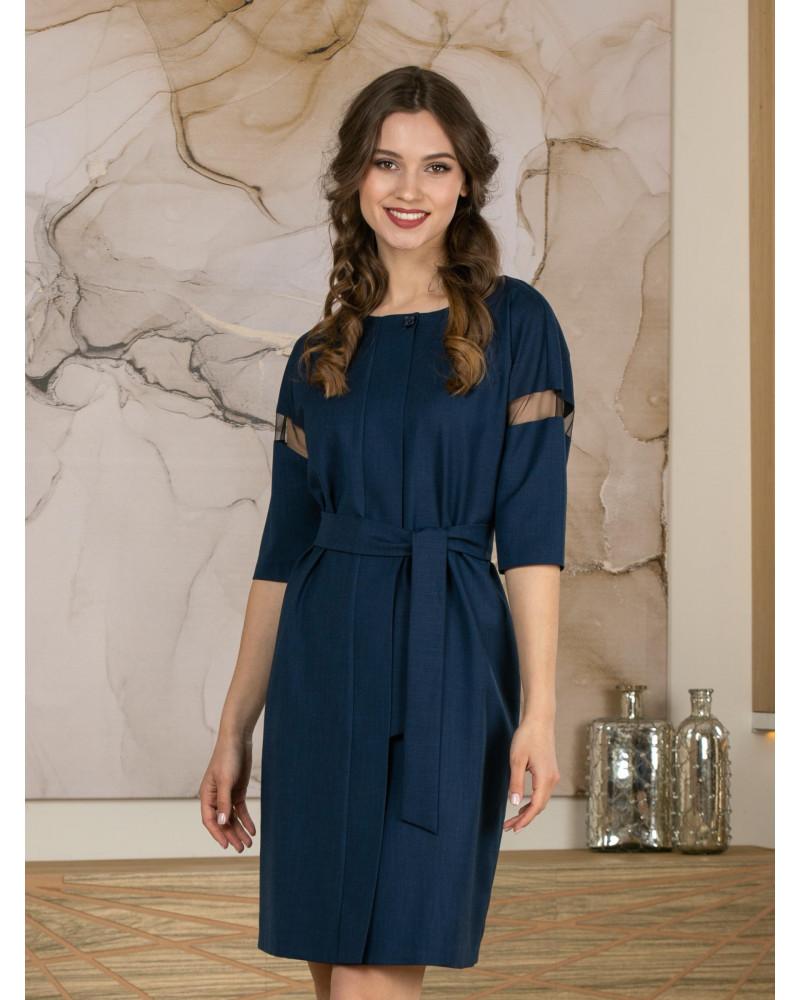 Платье синее с поясом, арт. 52708