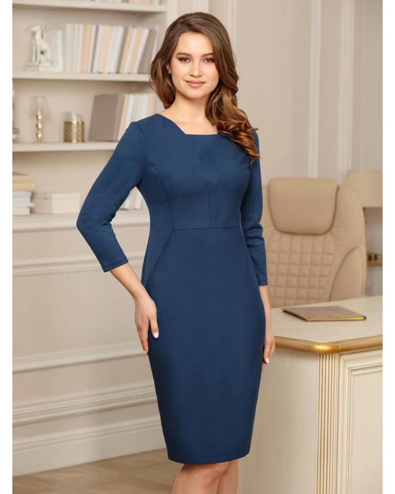 Платье-футляр синего цвета, арт. 52493