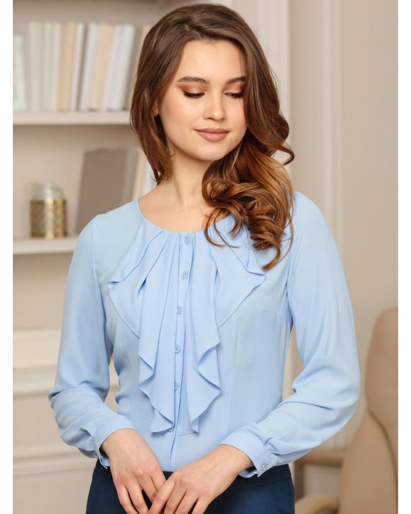 Блуза голубая с воланом, арт. 62416