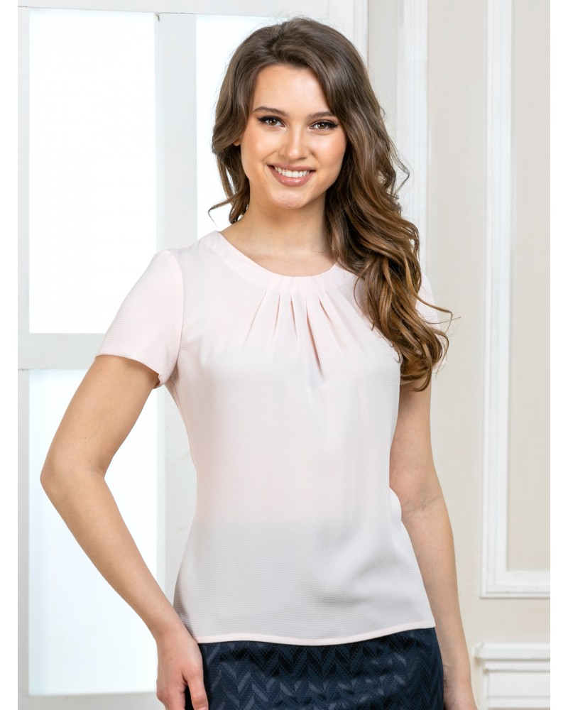 Блуза с защипами нежно-розовая, арт. 62430