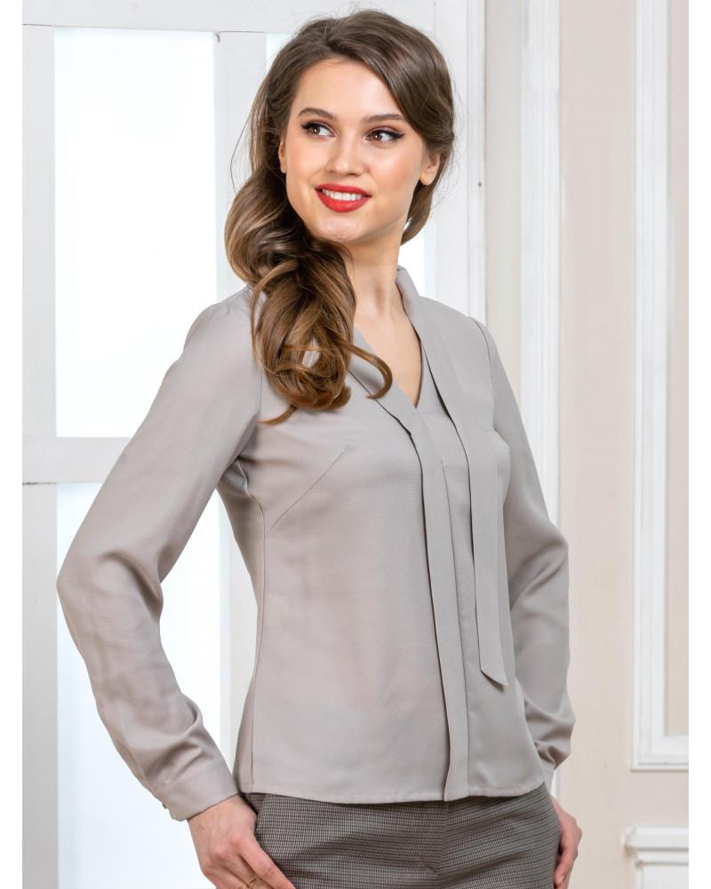 Блуза дымчато-серая с длинным рукавом, арт. 62445
