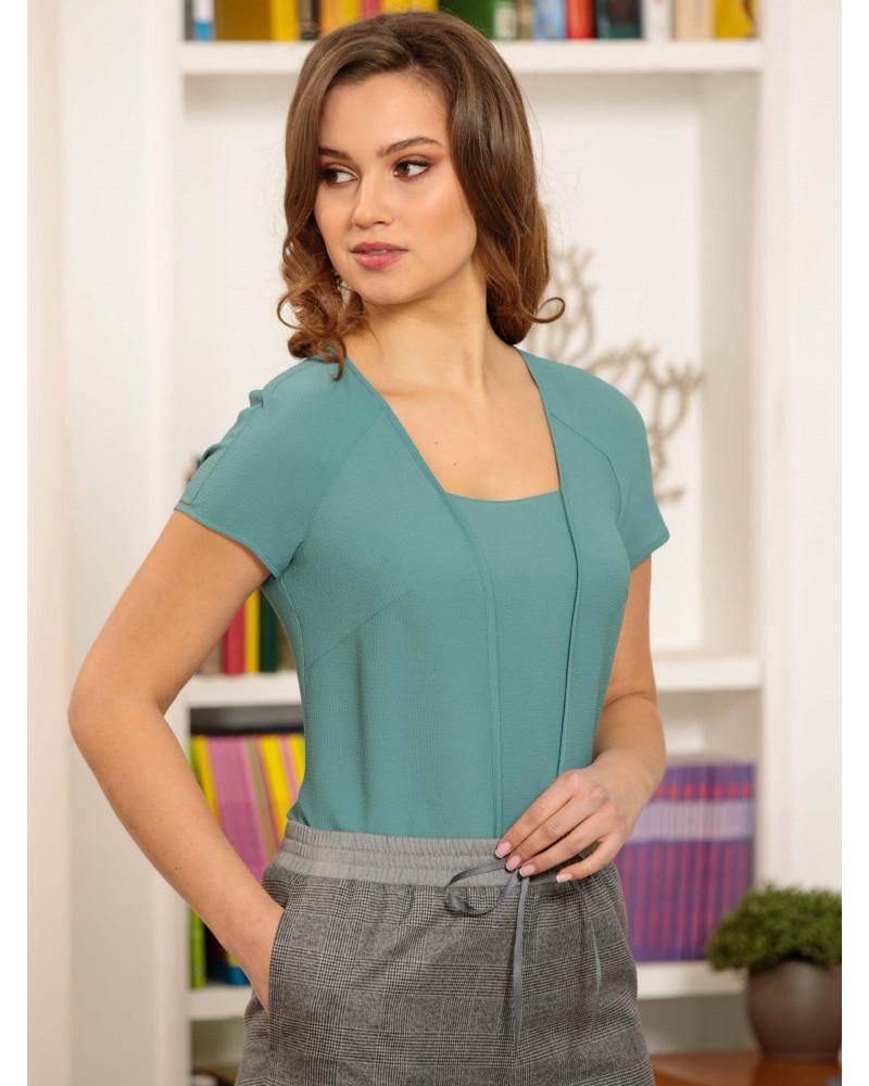 Блуза поливискозная, мятного цвета, арт. 62450-7