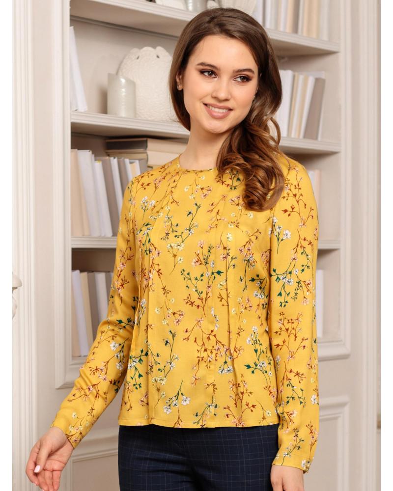 Блуза желтая принт цветы, арт. 62476