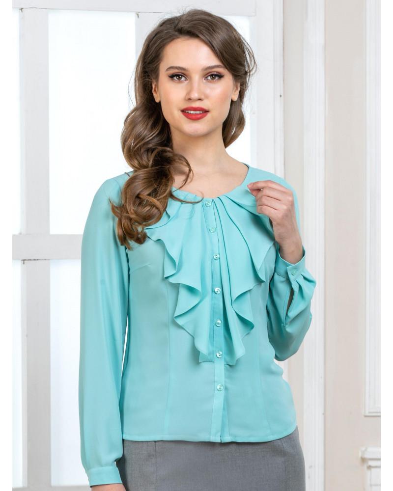 Блуза бирюзовая с рюшей, арт. 62478