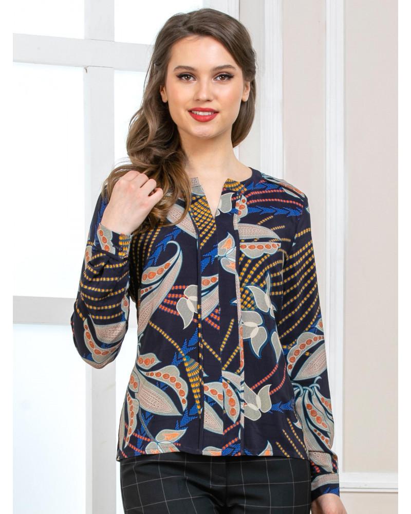 Блуза темно-синяя цветочный принт, арт. 62487