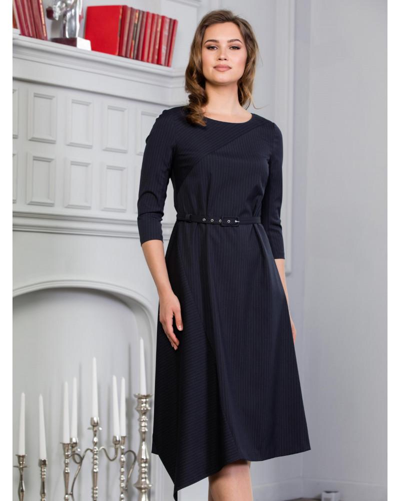 Платье асимметричное в токую полоску, арт. 52035
