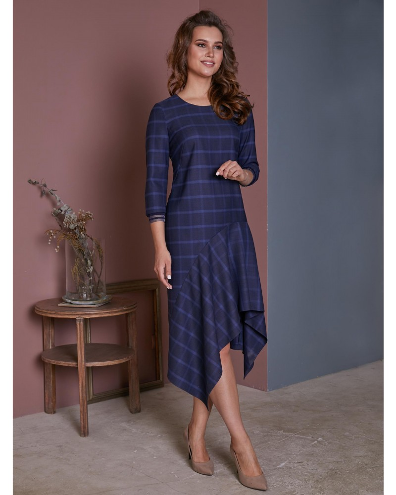 Платье асимметричное, в клетку, арт. 52112