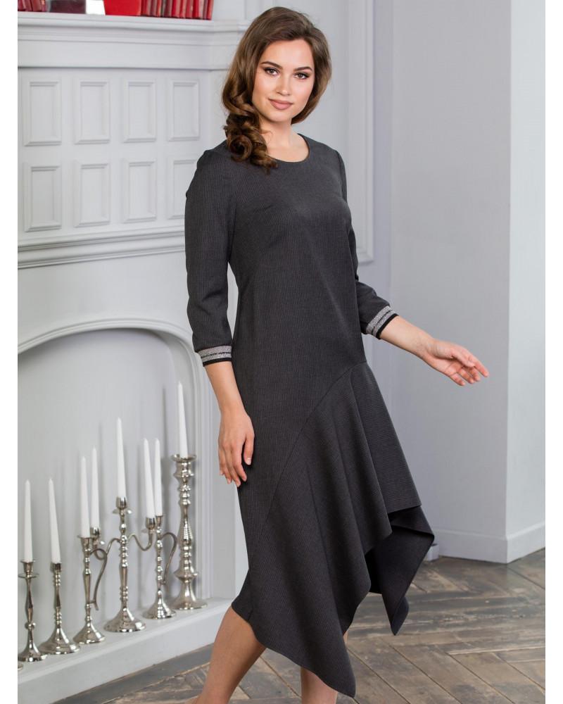 Платье с асимметричное с трикотажными подвязами, арт. 52125
