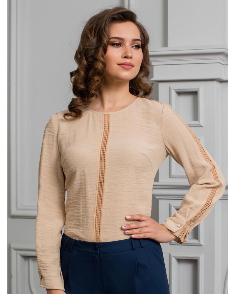 Блуза бежевая с кружевом, арт. 62115