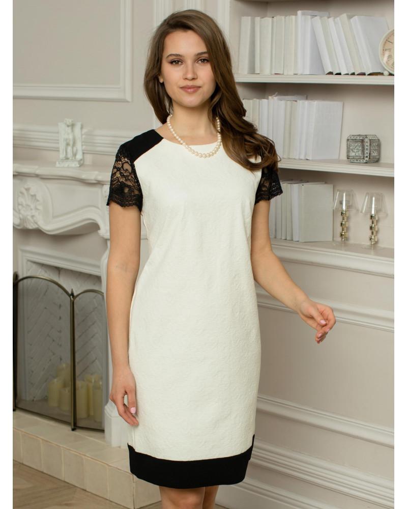Платье жаккардовое белое, арт. 51764