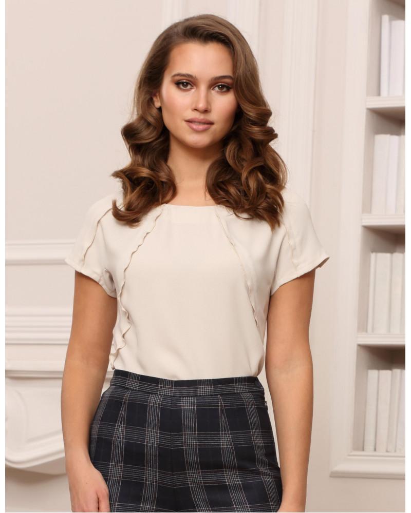 Блуза поливискозная жемчужного цвета, арт. 61745