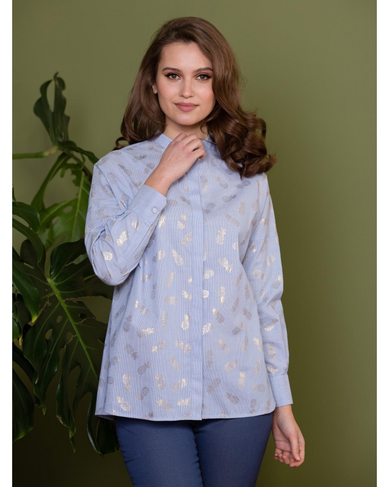 Блуза хлопковая принт ананасы, арт. 61870