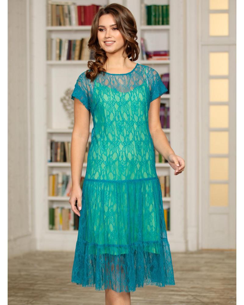 Платье кружевное цвета морской волны, арт. 52302