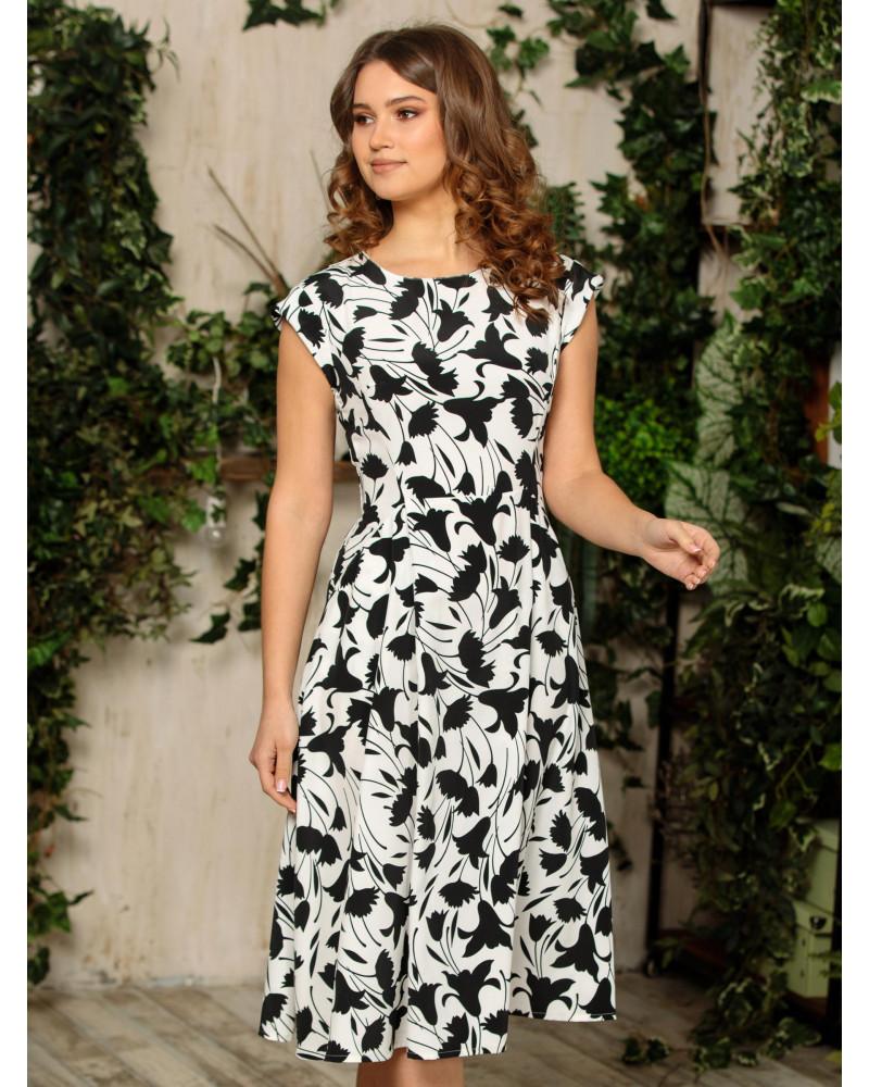 Платье с рельефами, черно-белое арт. 52383