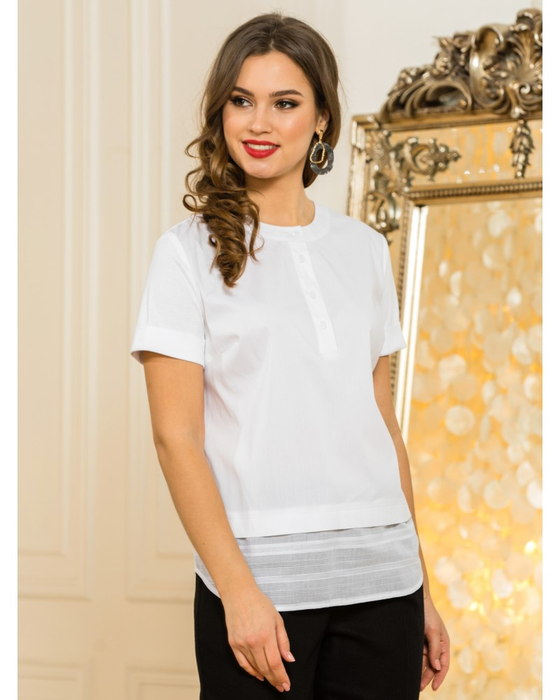 Блуза белая комбинированная, арт. 62609