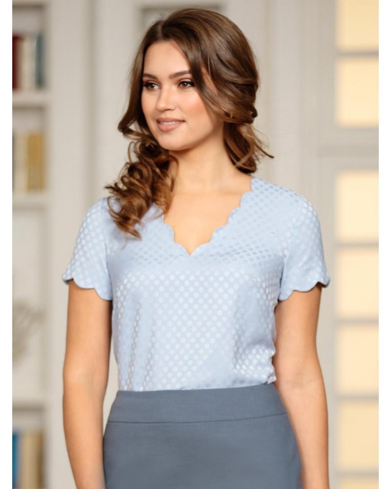 Блуза нежно-голубая с фестонами, арт. 62282