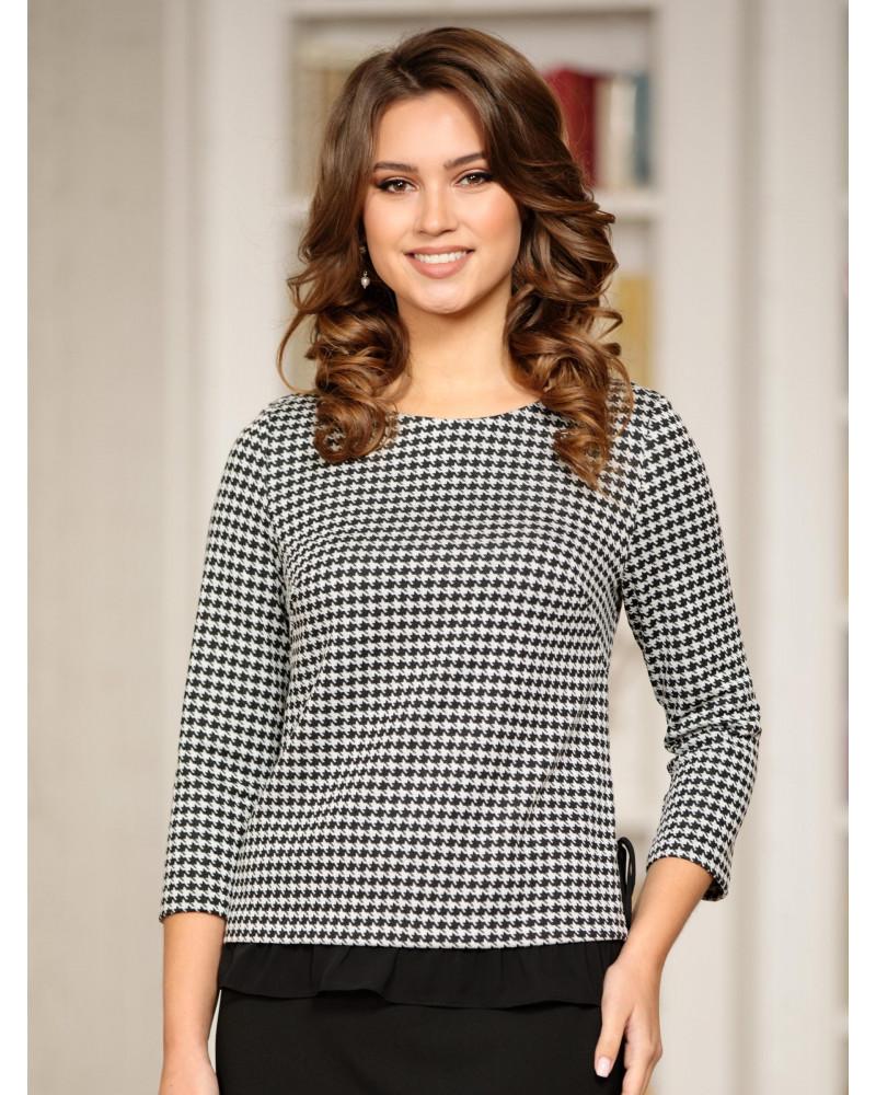 Блуза трикотажная комбинированная с шифоном, арт. 62287