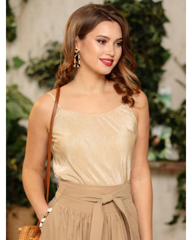 Блуза плиссе цвет песочно-золотой, арт. 62293