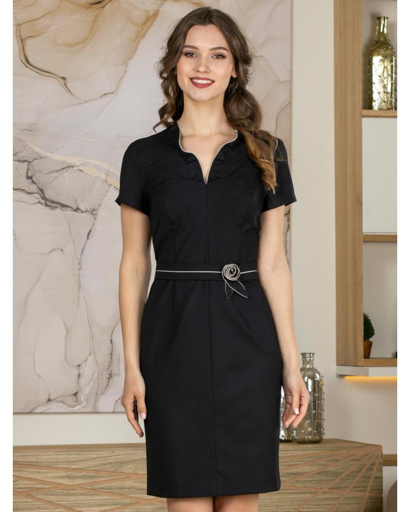 Платье приталенное темно-синее, арт. 52445