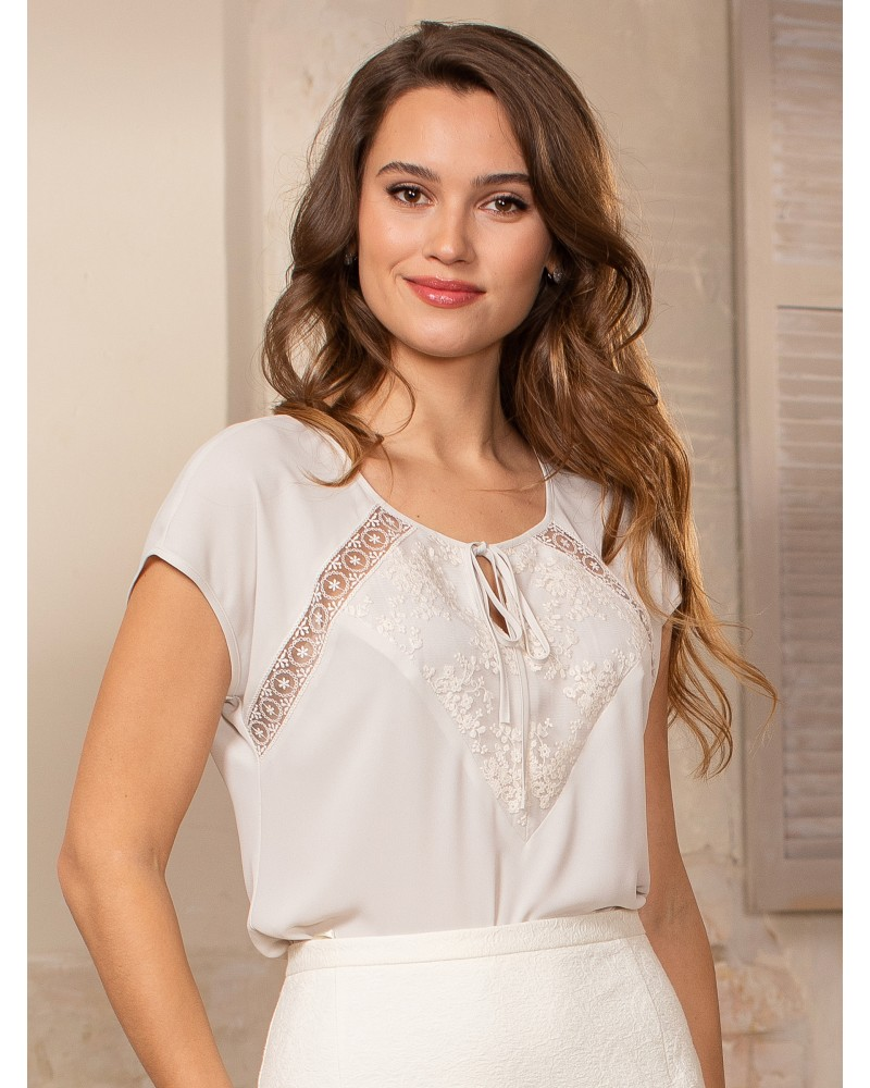 Блуза с кружевом нежно-пудровая, арт. 62562
