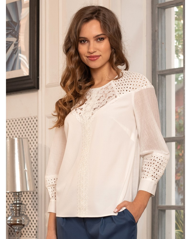 Блуза белая с кружевом, арт. 62575