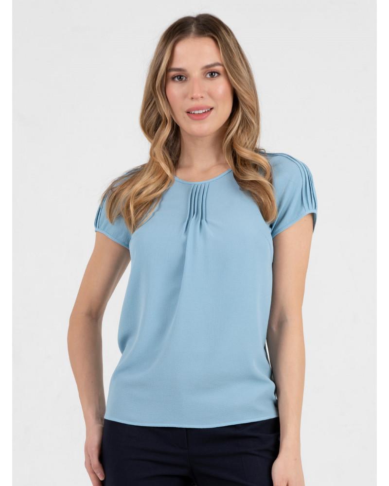 Блуза поливискозная голубая, арт. 62584
