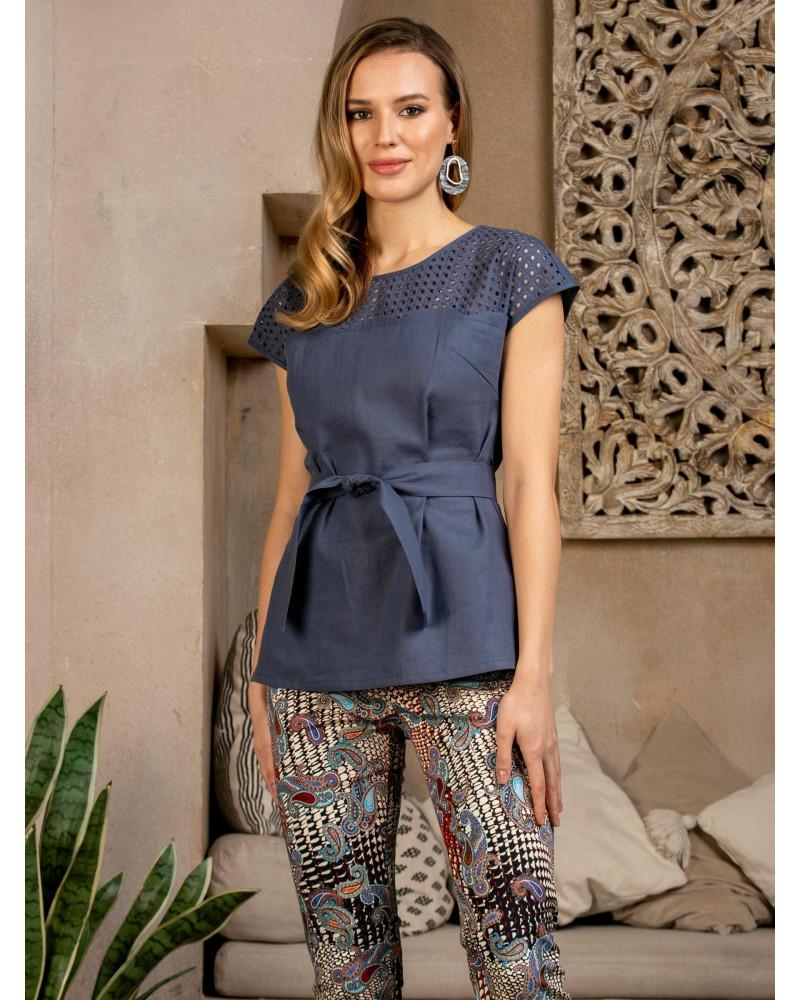 Блуза льняная синяя, арт. 62596
