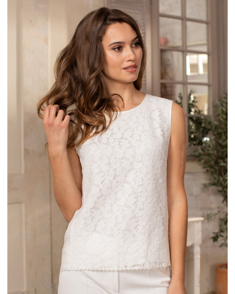 Блуза белая с кружевом, арт. 62652