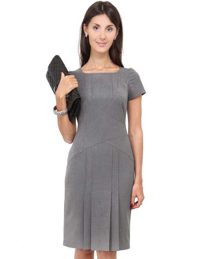 платье деловое с отстрочками платье